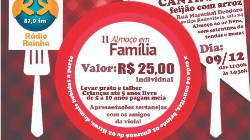 Acontece neste domingo 09/12 o II Almoço em Família da Associação Comunitária Rádio Rainha da Paz em Cornélio Procópio